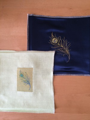 Goldwork peacock feathers