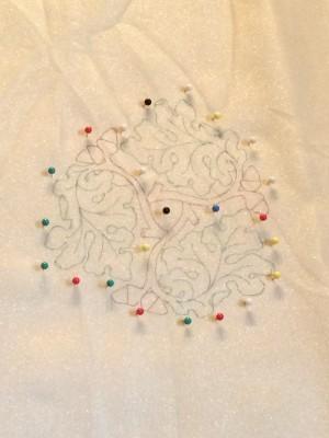 Oak leaf design drawn onto fabric