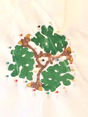 Oak leaf design painted onto fabric
