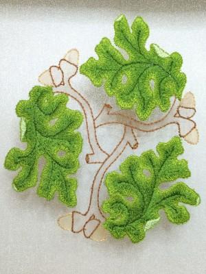 The third fully stitched oak leaf