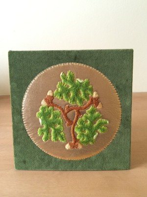 Completed oak leaves embroidery