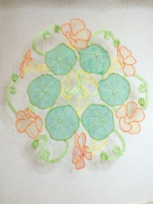 Nasturtium leaf veins in split stitch