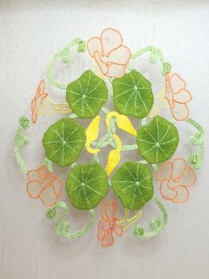 Embroidered nasturtium flower buds