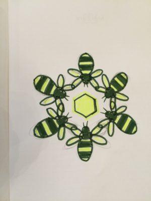 'Teamwork' bees rough sketch