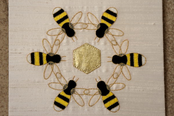 Teamwork bees embroidered panel
