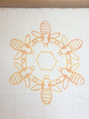 Embroidery design transferred onto linen