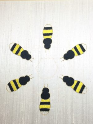 The yellow stripes added to the bees