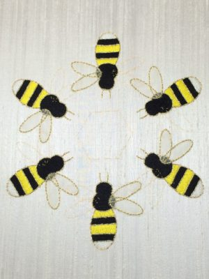 Bees with completed appliqué rights wings
