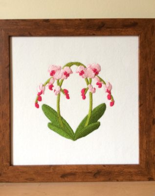 Framed embroidered picture of orchids