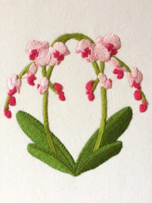 Close-up of embroidered picture of orchids
