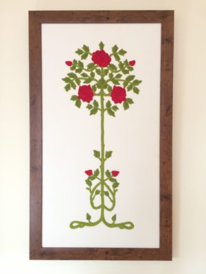 Embroidered panel: Ruskin Roses - full length