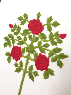 Hand embroidered rose bush design